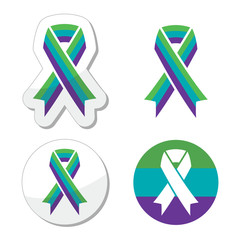 Medullary Sponge Kidney (MSK) awareness ribbon icons set