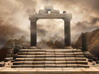 Ruiny starożytnej bramy na tle gór