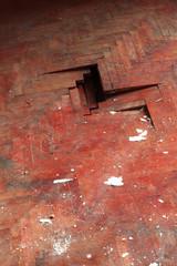 wooden parquet floor red detail defect
