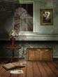 Stary pokój z książkami i pajęczynami nocą