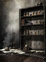 Pokój czarodzieja z czaszkami i butelkami na mikstury