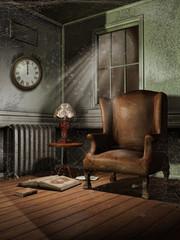 Stary pokój z fotelem, zegarem i lampą