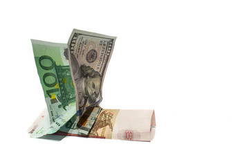 Euro and dollar riding on russian currency ruble