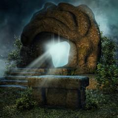 Magiczna skała i kamienny ołtarz