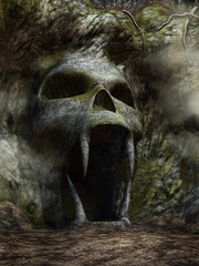 Wejście do jaskini w kształcie czaszki