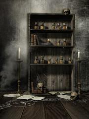 Półka z butelkami na mikstury, czaszkami, książkami i świecami