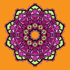 Violet stylized mandala over bright orange background.