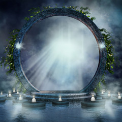 Magiczny portal ze świecami na wodzie