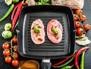 pork in a frying pan