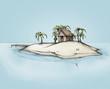 canvas print picture - Hütte auf einer einsamen Insel