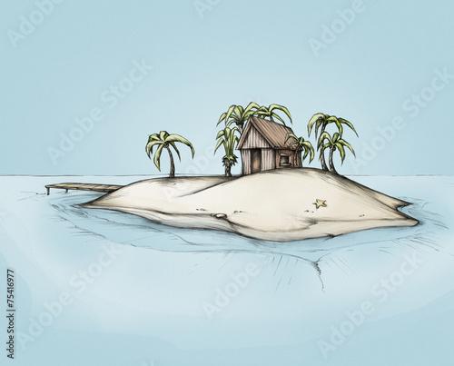 canvas print picture Hütte auf einer einsamen Insel