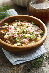 Traditional russian okroshka soup