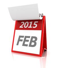 2015 February calendar, 3d render