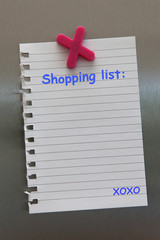 Shopping list note on a fridge door with magnet