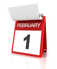 First of February calendar, 3d render