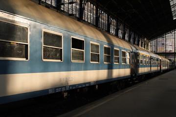Traincars at railwaystation