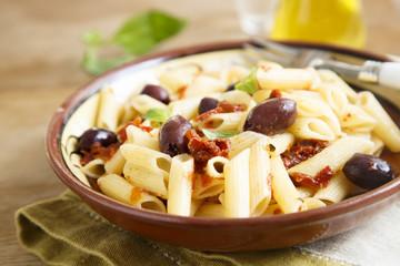 Pasta with kalamata olives, tomatoes and herbs