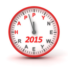 Clock with 2015 happer new year text, 3d render