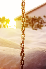 frozen chain at winter season