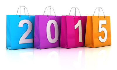 Colourful shopping bags with 2015, 3d render