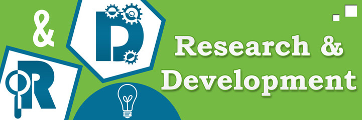R And D - Research And Development Abstract Green Blue