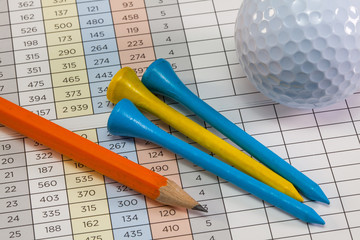 Golf score card and golf equipments