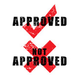 stamp approved and not approved with black text isolated on whit