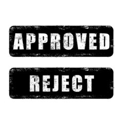 stamp approved and reject with black text isolated on white back