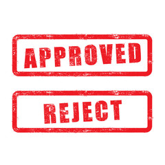 stamp approved and reject with red text isolated on white backgr