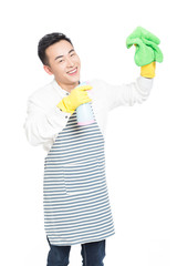 young man cleaning on white