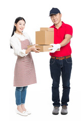 woman receipt of package delivery