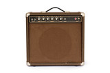 Brown electric guitar amplifier isolated on white background