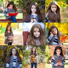 Collage, Autumn beauty little girl