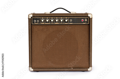 Leinwanddruck Bild Brown electric guitar amplifier isolated on white background