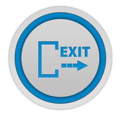 Exit circular icon on white background