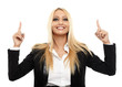 canvas print picture - Businesswoman pointing up