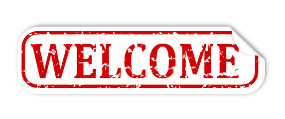 """White sticker with the word """"welcome"""" - vector svg"""