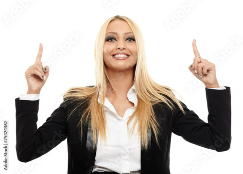 canvas print picture Businesswoman pointing up