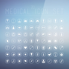 70 medical icons for web, internet, computer, mobile apps, inter
