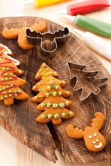 Christmas  gingerbread cookies. baking background