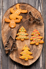 Christmas homemade gingerbread cookies. baking background