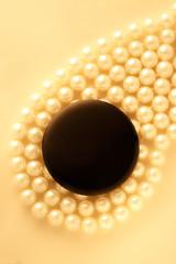 Black blank round badge