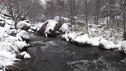 Stream in Snow Covered Landscape