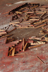 wooden parquet floor red crumbled  2