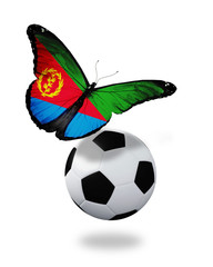 Concept - butterfly with Eritrea flag flying near the ball, like