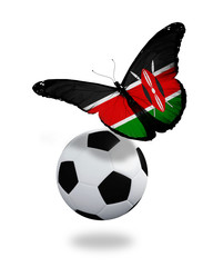 Concept - butterfly with  Kenya flag flying near the ball, like