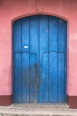 Door of a typical colonial house in Trinidad, Cuba