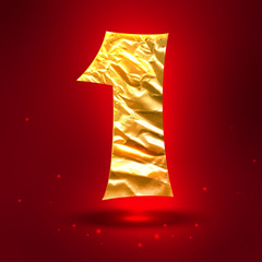 Figure 1, made of shiny golden crumpled foil