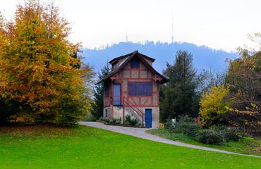 Fachwerk building in the park