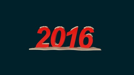 New Year 2016 with snow loop rotation animation